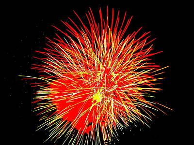 Fireworks In Red And Yellow Art Print by Michael Porchik