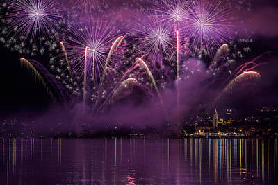 Celebrating Photograph - Fireworks Lake Pusiano by Roberto Marini