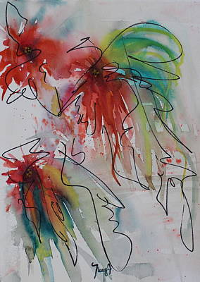 4th July Painting - Fireworks by Nancy Gebhardt