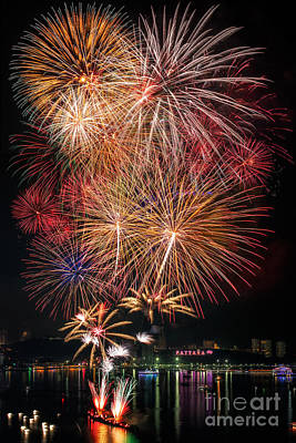 Fireworks New Year 2014 - 2015 Celebration  Art Print