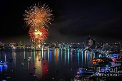 Fireworks New Year Celebration At Pattaya Beach Art Print by Anek Suwannaphoom