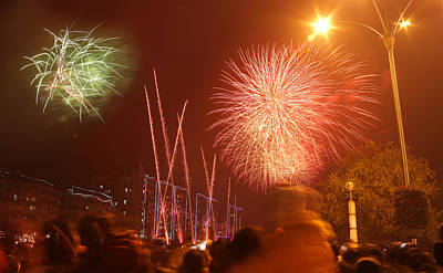 Photograph - Fireworks On Chinese New Year 3 by Afrison Ma