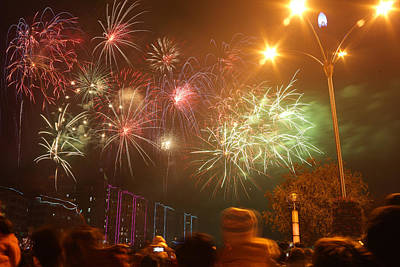 Photograph - Fireworks On Chinese New Year 4 by Afrison Ma