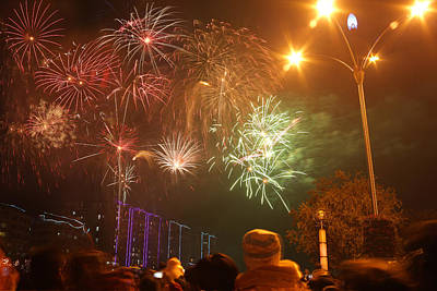 Photograph - Fireworks On Chinese New Year 5 by Afrison Ma