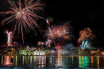 Fireworks On New Years Eve, Reykjavik Art Print by Panoramic Images