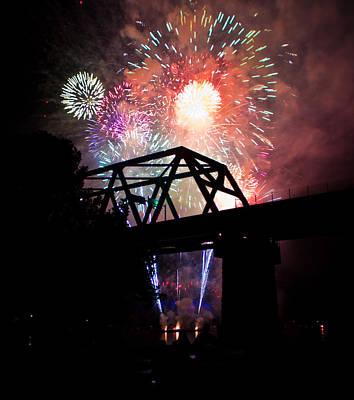Photograph - Fireworks Over Bridge by Jonny D