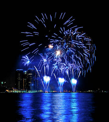 Travel - Fireworks over Detroit River 10 by Paul Cannon