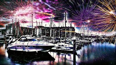Draw Photograph - Fireworks Over Hull Marina England by Chris Drake