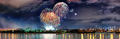 Photograph - Fireworks Over Montreal by Laurent Lucuix