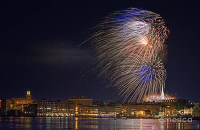 Fireworks Over Portsmouth N H  Art Print by Scott Thorp