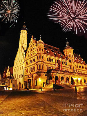 Photograph - Fireworks Over Rothenburg by Elvis Vaughn