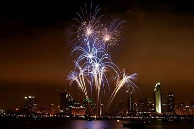 Fireworks Over San Diego Skyline Art Print by Jetson Nguyen