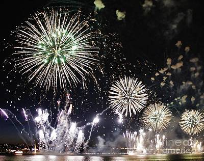 Art Print featuring the photograph Fireworks Over The Hudson River by Lilliana Mendez