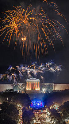 Fireworks Over The Parkway Art Print by Bruce Neumann