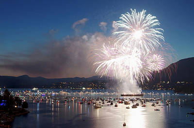 Photograph - Fireworks Over The Water And Boats by Celine Ramoni Lee