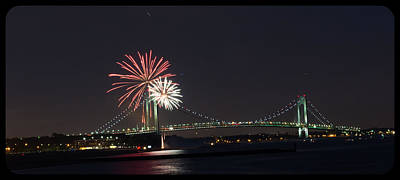 Photograph - Fireworks Over Verrazano Bridge by Kenneth Cole