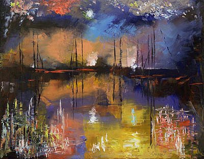 Fireworks Painting - Fireworks Display by Michael Creese
