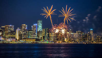 Photograph - Fireworks Palm Trees Vancouver by Pierre Leclerc Photography