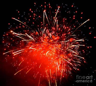 Fireworks Red Art Print by Katja Zuske