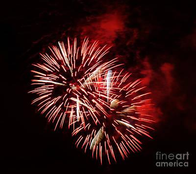 Fireworks Red-white Art Print by Katja Zuske