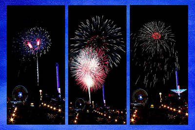 Photograph - Fireworks Triptych by Judy Vincent