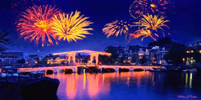 Digital Art - Fireworks by Walter Colvin