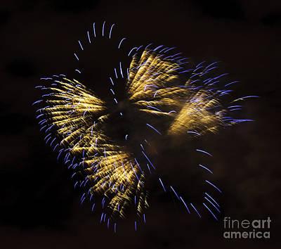 Fireworks Yellow-blue Art Print by Katja Zuske