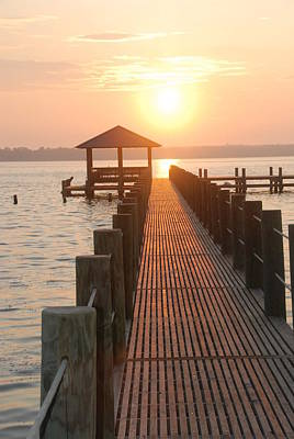 Photograph - Firey Gulf Pier  by Michael Gooch
