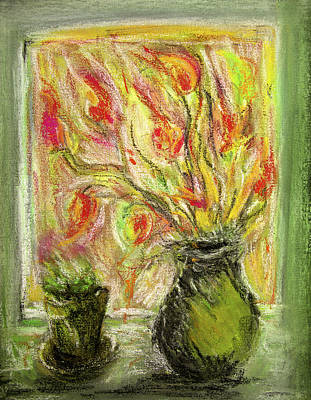 Art Print featuring the painting Firery Window by Linde Townsend