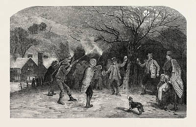 Firing At The Apple Tree, In Devonshire, Uk Print by English School