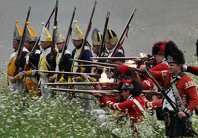 Revolutionary Wars Re-enactment Photograph - Firing Line by William Coffey