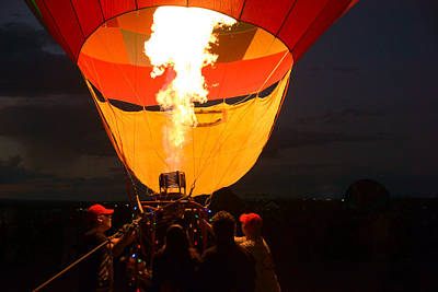 Photograph - Firing Up The Night At Balloon Fiesta by Daniel Woodrum