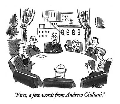 First, A Few Words From Andrew Giuliani Art Print