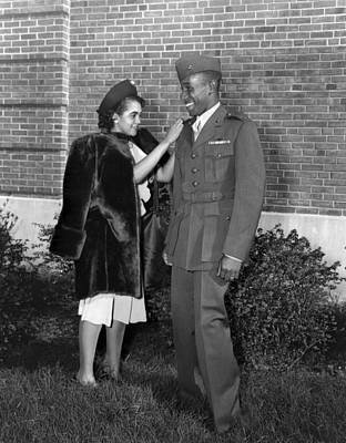 African American Couple Photograph - First African American Marine Officer by Everett
