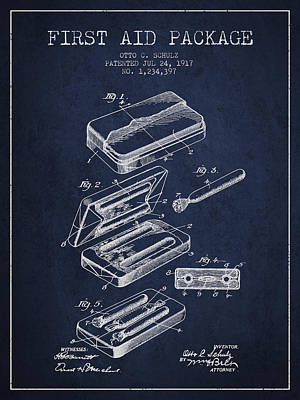 First Aid Package Patent From 1917 - Navy Blue Art Print by Aged Pixel
