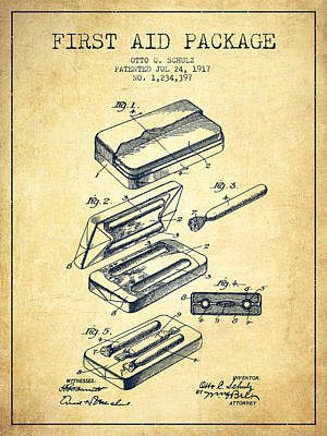 First Aid Package Patent From 1917 - Vintage Art Print by Aged Pixel