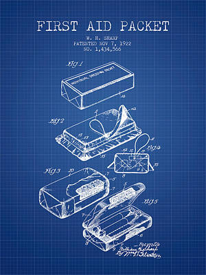 First Aid Packet Patent From 1922 - Blueprint Art Print by Aged Pixel