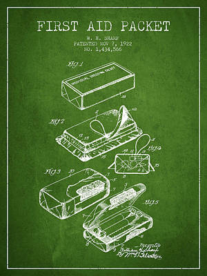 First Aid Packet Patent From 1922 - Green Art Print by Aged Pixel