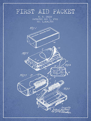 First Aid Packet Patent From 1922 - Light Blue Art Print by Aged Pixel