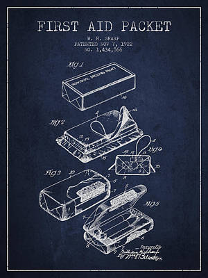 First Aid Packet Patent From 1922 - Navy Blue Art Print by Aged Pixel
