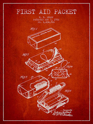 First Aid Packet Patent From 1922 - Red Art Print by Aged Pixel