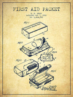 First Aid Packet Patent From 1922 - Vintage Art Print by Aged Pixel