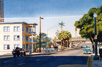 Cedar Painting - First Avenue In San Diego by Mary Helmreich