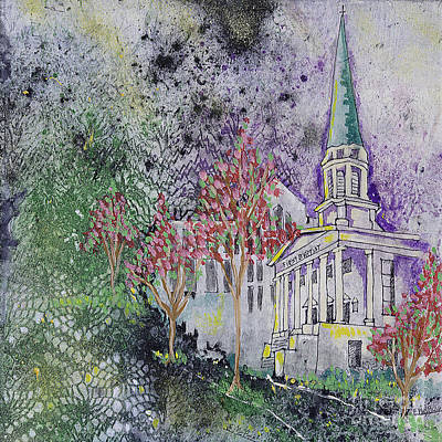 The Church Mixed Media - Old First Baptist Church by Edith Hardaway