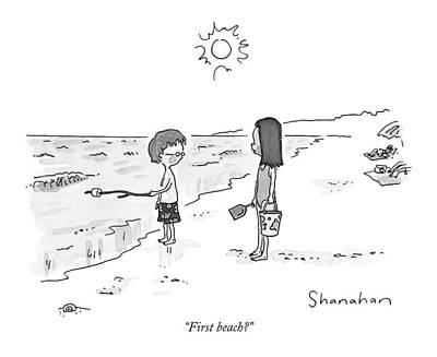 Seashore Drawing - First Beach? by Danny Shanahan