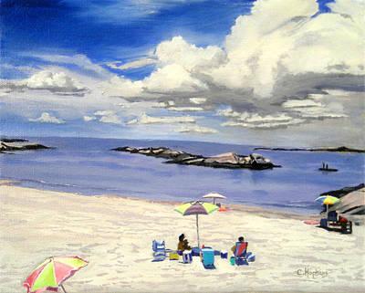 Shell Beach Inn Painting - First Beach Newport Rhode Island by Christine Hopkins