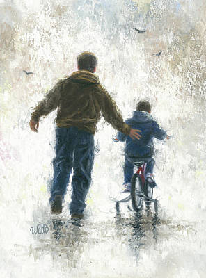 Father Painting - First Bike Ride by Vickie Wade