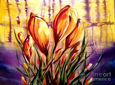 First Blooms Of Spring Art Print by Karen  Ferrand Carroll