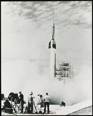 Corporal Rocket Photograph - First Cape Canaveral Rocket Launch by NASA Science Source