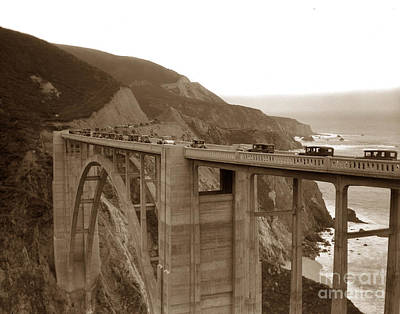 Photograph - First Cars Across Bixby Creek  Bridge Big Sur California  Nov. 1932 by California Views Archives Mr Pat Hathaway Archives
